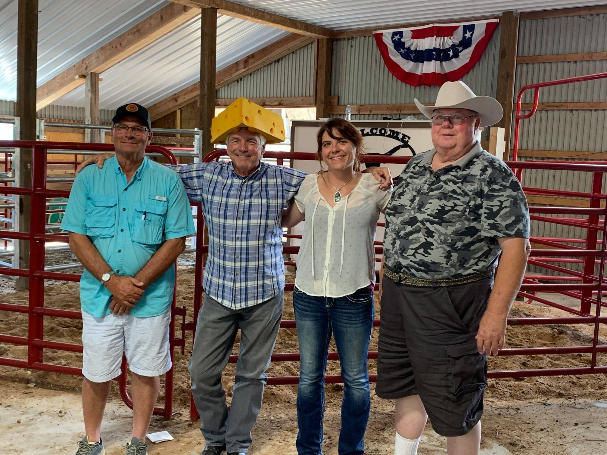 GNTLA Futurity Judges Hired Hand customers Jay Wachter, Sunhaven Farm and Dale Metz, FHR Longhorns with Melissa Boerst, Silver Summit Ranch and Dick Lowe, Triple R Longhorns
