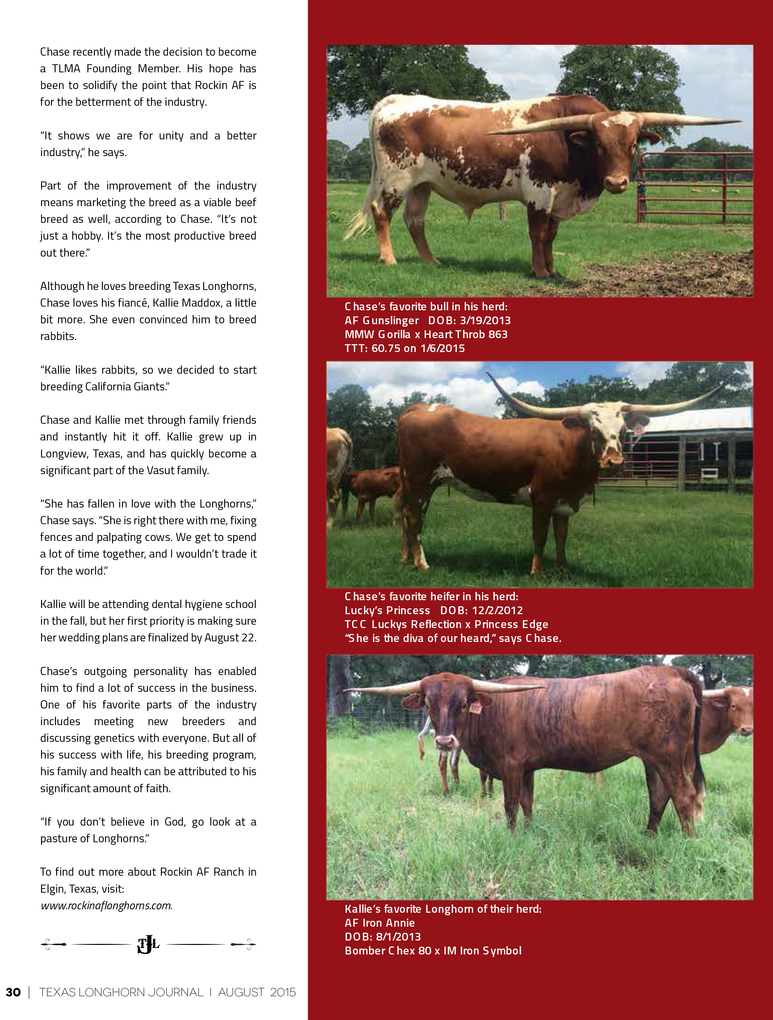 August 2015 Texas Longhorn Journal Article