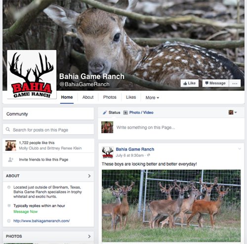 Bahia Game Ranch Facebook page