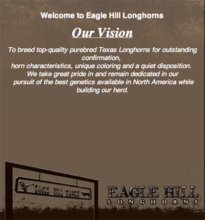 Eagle Hill Longhorn Ranch welcome page