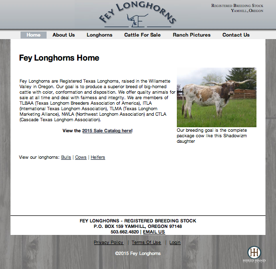 Fey Longhorns Consignment Sale page
