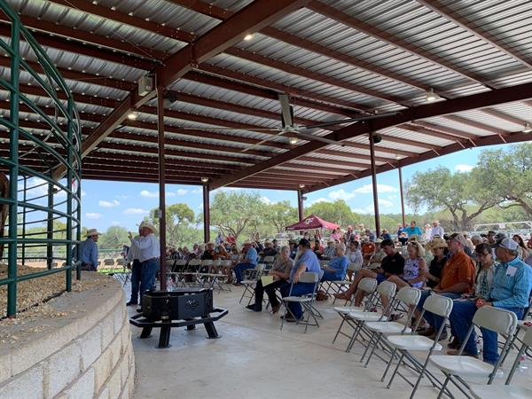 Full house again during the Saturday sale — with Tony Mangold, Teresa Krause, Brett Krause and Terry King at Struthoff Ranch.