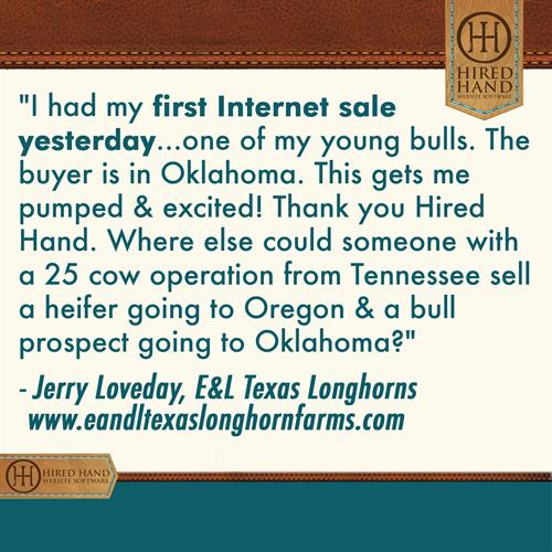 Where else could someone with a 25 cow operation from Tennessee sell a heifer going to Oregon & a bull prospect going to Oklahoma?
