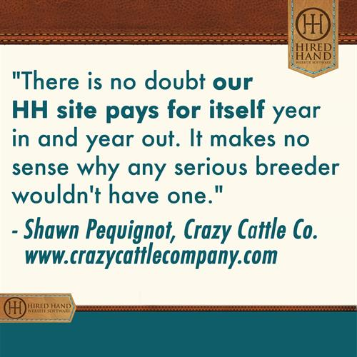 There is no doubt our HH site pays for itself year in and year out. It make no sense why any serious breeder wouldn't have one.