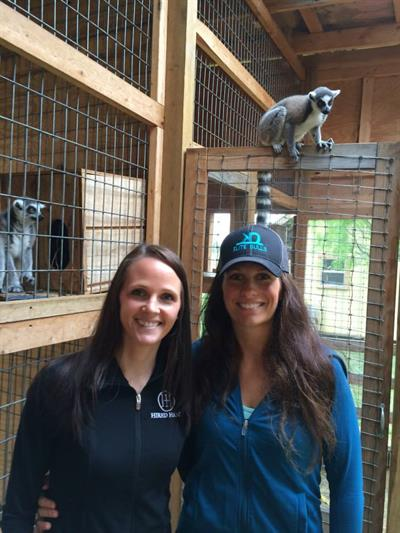 Jaymie and Molly with a few of the Blue Ridge Ranch lemurs.
