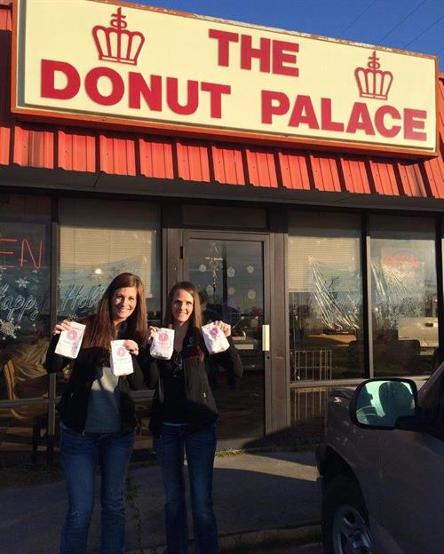 Molly and Jaymie at the Donut Palace