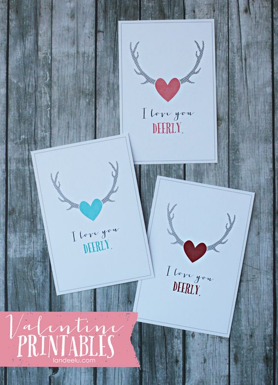 Printable Deer Valentine