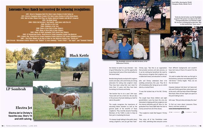 Texas Longhorn Journal on Lonesome Pines Ranch