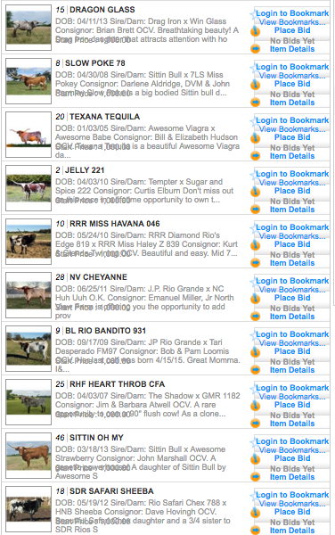 Top 10 viewed cow consignments